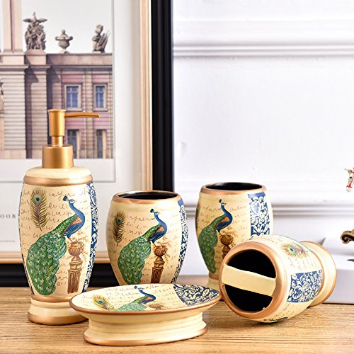 Bath Accessory Set Peacock