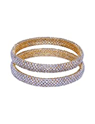 Gehna Beautiful Pair Of Bangles Made In Silver Alloyed Metal Studded American Diamonds