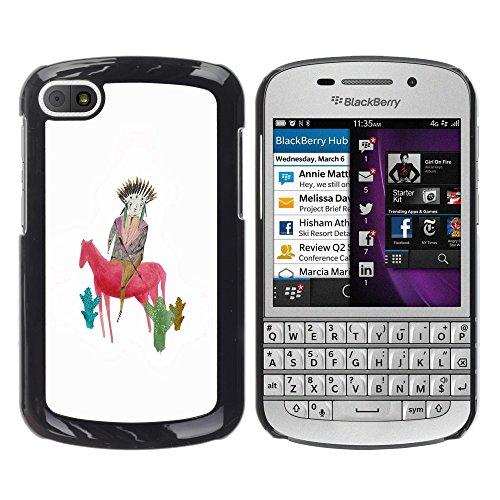 WonderWall Tapete Bunt Bild Handy Hart Schutz hülle Case Cover Schale Etui für BlackBerry Q10 - Zeichnung Mutter Mutter Pferd weiß