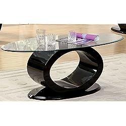 Furniture of America Modine Contemporary Glass Top Coffee Table, Black
