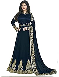 Ethnic Wings Designer Beautiful Navy Blue Long Anarkali Suit Semi-Stitched Suit ( Bottom Unstitched)