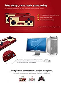 Dream 2 Players FC30 NES Nintendo System Game Player Console Wireless Bluetooth Controller Gamepad Joypad Joystick with Stand for PC Mac IOS Android Device