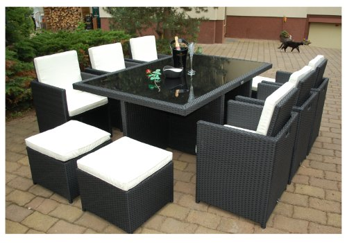 gartenm bel polyrattan essgruppe tisch mit 6 st hlen 4 hocker. Black Bedroom Furniture Sets. Home Design Ideas