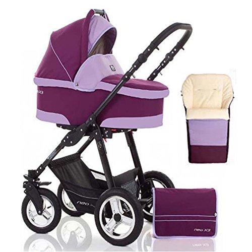 2 in 1 Kinderwagen Neo X3 - Kinderwagen + Sportwagen + Fußsack + GRATIS ZUBEHÖR in Farbe Bordeaux-Lavendel