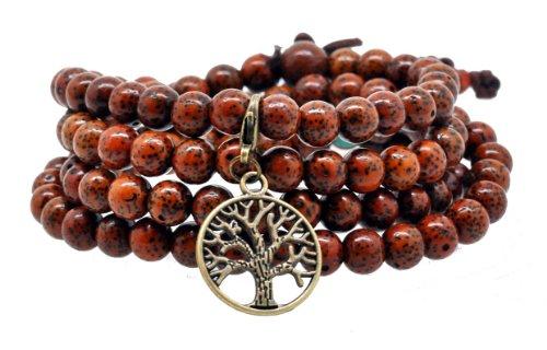 Tibetan Bodhi Beads Dyed Brown Daemonorops Seeds Prayer Beads Mala Necklace Wrap Bracelet (Antique Finishing Tree of Life Charm)