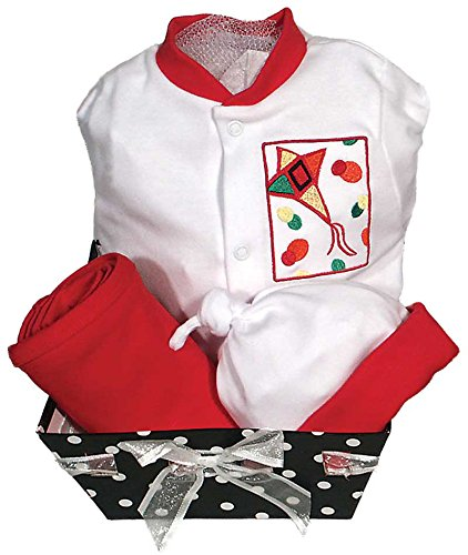Raindrops Delightful Brights Kite Footie Gift Set, Red/Black, 0-3 Months, 4 Piece