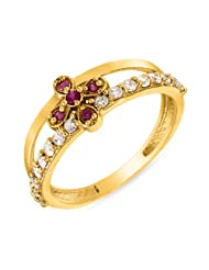 Mahi Ruby & CZ 24K Gold Plated Fashion Finger Ring For Women FR1100295G