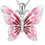 Sterling 925 Silver Enamel Red charm Long Butterfly Pendant Necklace gift white gold jewelry for women