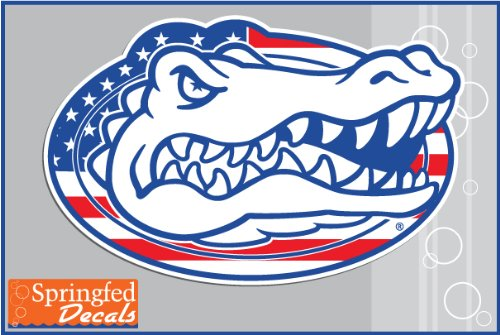 "Florida Gators Flag Gator Head Logo 6"" Vinyl Decal Car Truck Window Sticker Uf"