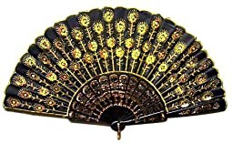 Chinese Classical Fabric Silk Hand Fan with Peacock Pattern for Girls Women Ladies (Yellow)