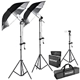Neewer® 600W 5500K Photo Studio Day Light Black/Silver Umbrella Continuous Lighting Kit for Product,Portrait and Video Shoot Photography