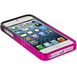 myLife (TM) Hot Pink + Black Two Tone Series (2 Piece Snap On) Hardshell Plates Case for the iPhone 5/5S (5G) 5th Generation Touch Phone (Clip Fitted Front and Back Solid Cover Case + Rubberized Tough Armor Skin)