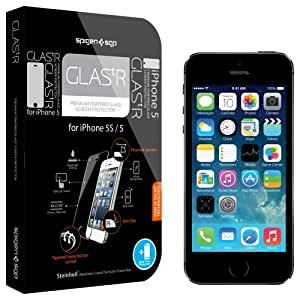 SPIGEN SGP SGP09548 GLAS.tR Premium Tempered Glass Screen Protector for iPhone 5/5S (0.5mm) - 1 Pack - Retail Packaging - Oleophobic Coating