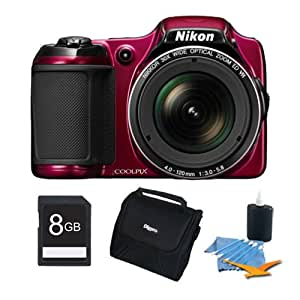 Nikon COOLPIX L820 16 MP Digital Camera with 30x Zoom (Red) 8GB Premiere Bundle