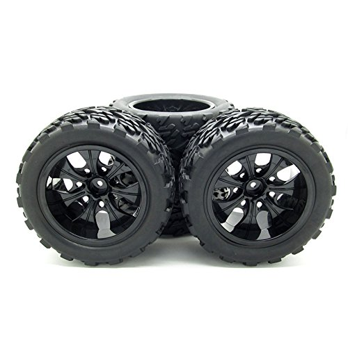 JIUWU 1:10 Rc Monster Truck Car Wheel Type Tires with 7 Spokes Wheel Rim Black Rc Parts Pack of 4 (Off Road Tires For Truck compare prices)
