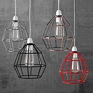 Contemporary Metal Basket Cage Designer Style Pendant Ceiling Light Shade from MiniSun