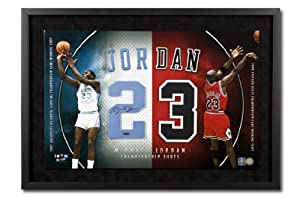 Michael Jordan Autographed UNC Bulls Championship Shots Jersey Numbers Display -... by Upper+Deck