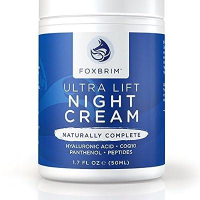 Ultra Lift Night Cream - 100% Advanced Anti-Aging Formula - Restore Youthful Skin With Premium Natural & Organic Ingredients - CoQ10, Panthenol, Peptides, Hyaluronic Acid - Foxbrim 1.7OZ