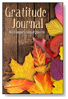 Gratitude Journal With Inspirational Quotes - Fall leaves against a wood fence create a restful-looking cover for this 5-minute gratitude journal for busy people.
