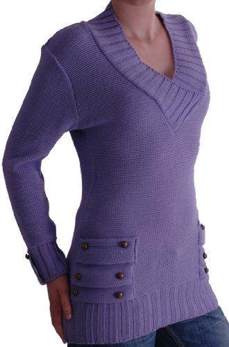 EyeCatchClothing - Nebraska Womens V Neck Knitted Pullover Jumper One Size