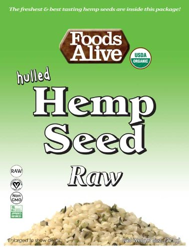 Foods Alive Organic Hulled Hemp Seeds, 8 Ounce  Bags (Pack of 2)