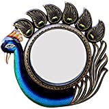Divraya Wood Peacock Wall Mirror (30.48 Cm X 4 Cm X 30.48 Cm, DA147)