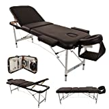 (BTM) Deluxe Lightweight Professional Massage Table Aluminium Beauty Couch Bed Spa Portable Folded 3 Section with Headrest Arm support and free Carrying Bag BLACK