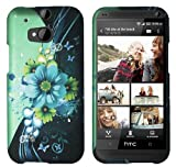 HTC One (M8) (For 2014 HTC New Flagship Android Phone; US Carrier: Verizon AT&T T-Mobile Sprint) Premium Pretty Design Protector Hard Cover Case + Car Charger + 1 of New Assorted Color Metal Stylus Touch Screen Pen (Sublime Flower White Drop)