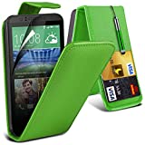 Fone-Case ( Green ) HTC Desire 320 Case Brand New Luxury PU Leather Flip With Credit / Debit Card Slot Case Skin Cover With LCD Screen Protector Guard, Polishing Cloth & Mini Retractable Stylus Pen