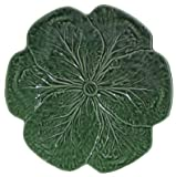 Majolica Green Cabbage Leaf Ceramic Pottery Charger Plate 12