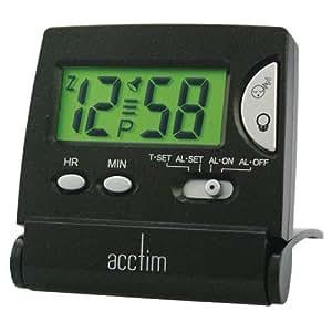 Acctim CK3353 Mini Flip LCD Alarm Clock, Black