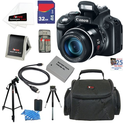 Canon PowerShot SX50 HS 12.1 MP Digital Camera with 50x Optical IS Zoom + NB-10L Battery + 9pc Bundle 32GB Deluxe Accessory Kit at Sears.com