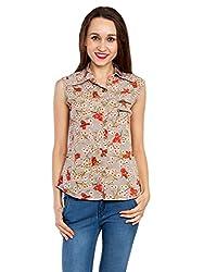 Kridh Women's Casual Shirt (scobp1004_ Brown_ X-Large)