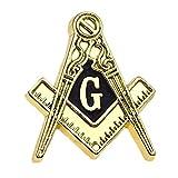 金色のピンバッジ 秘密結社 フリーメイソン G コンパス 定規 ピンズ フリーメイスン デラックス留め金付