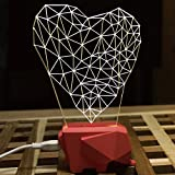 WOMHOPE LED Art Sculpture Lights Up Night Lights Desk Lamp - 3D Visualization - Unique Lighting Effects Amazing Optical Illusion Home Decor Lamp for Kids,Valentines Gift,Lovers (Heart)