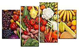 Canval prit painting Food Wall Art Many Kinds of Fruit and Vegetable Tomato & Melon 4 Pieces Picture on Canvas