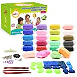 SySrion Air Dry Clay, 24 Colors Ultra Light Modeling Clay Magic Crafts Kit - Eco-friendly Educational DIY Creative Polymer Play Clay - FREE Vegetables & Fruits Modes Included - Best Gift for Children
