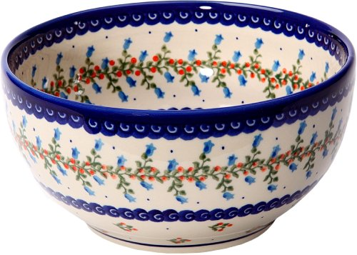 Polish Pottery Ceramika Boleslawiec 0410/166 Royal Blue Patterns with Vine of Bluebells and Cranberries Motif Bowl 19, 5-1/4-Cup