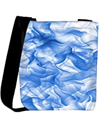 Snoogg White And Blue Smoke 2430 Womens Carry Around Cross Body Tote Handbag Sling Bags