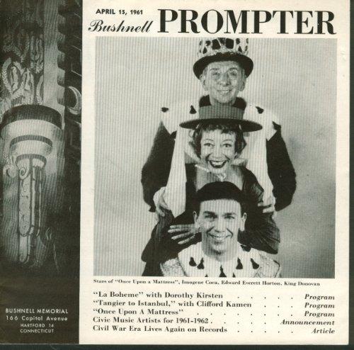 Bushnell Prompter Hartford Ct Imogene Coca La Boheme Dorothy Kirsten 4/15 1961
