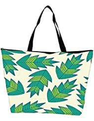 Snoogg A Seamless Leaf Pattern Waterproof Bag Made Of High Strength Nylon - B01I1KJKP6