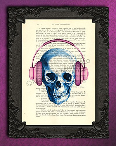 Skull with headphones in blue and purple wall decorations, cool music stuff art print, DJ gifts poster (Cool Skull Stuff compare prices)
