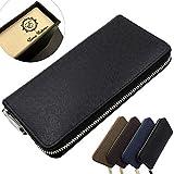 (エアナスコレクション) Eanas Collection 長財布 ラウンドファスナー シンプルで機能的 おしゃれ デザイン レザー フォーマル カジュアル メンズ (ブラック)