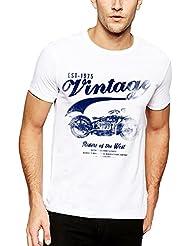 Adro Men's Round Neck Cotton T-Shirt (White) - B01IDC1MS0