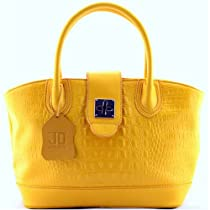 JOHN DAVID Courtney Croc Embossed Leather Handbag, Yellow