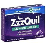 Vicks ZzzQuil Nighttime Sleep-Aid, LiquiCaps, 12 liquicaps