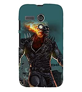Printvisa Burning Skeleton Haunted Pic Back Case Cover for Motorola Moto G X1032::Motorola Moto G (1st Gen)