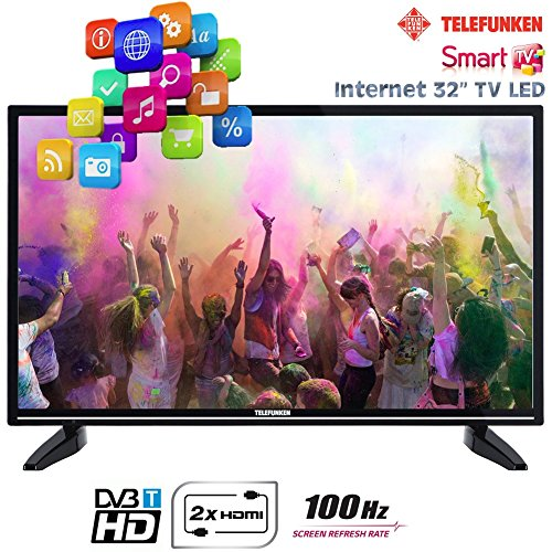 "Telefunken TV LED 32"" Televisore Smart TV Internet 2x HDMI - 1x USB - 100HZ - HD Ready - VGA - T32TX287DLBPOSX"