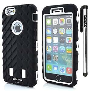 OkSoBuy Apple Iphone 6 plus(5.5 inch) Case Hybrid Dual Layer Armor Case for Apple Iphone 6 plus(3in1 Tire Stripe Combo Hybrid Hard and SiliconeBumper Case and Stylus (White with Black)