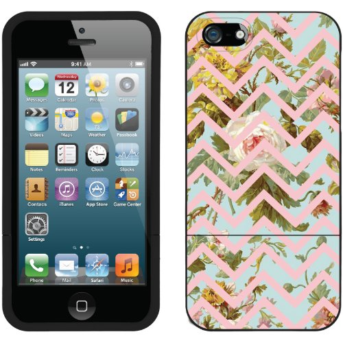 Special Sale Floral Chevron Pink design on a Black iPhone 5 Slider Case by Coveroo